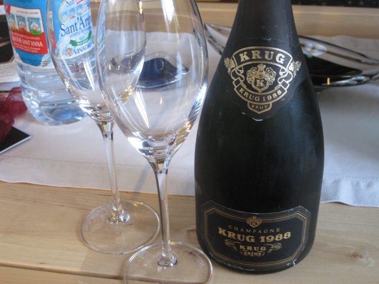 Arrival toast: A bottle of 1988 Krug champagne: 1988 Krug