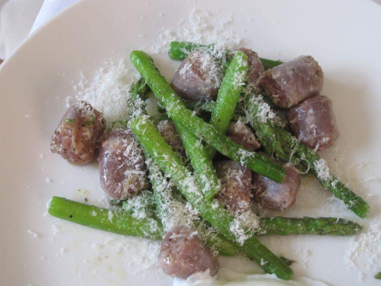 Asparagus, Bra Sausage, Olive Oil, Parmigiano