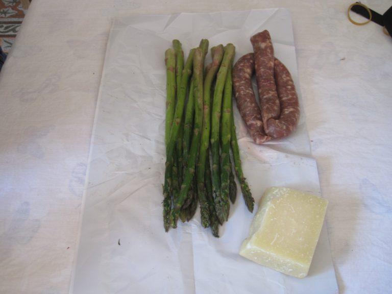 Fresh Ingredients: Asparagus, Sausage, and Parmigiana.