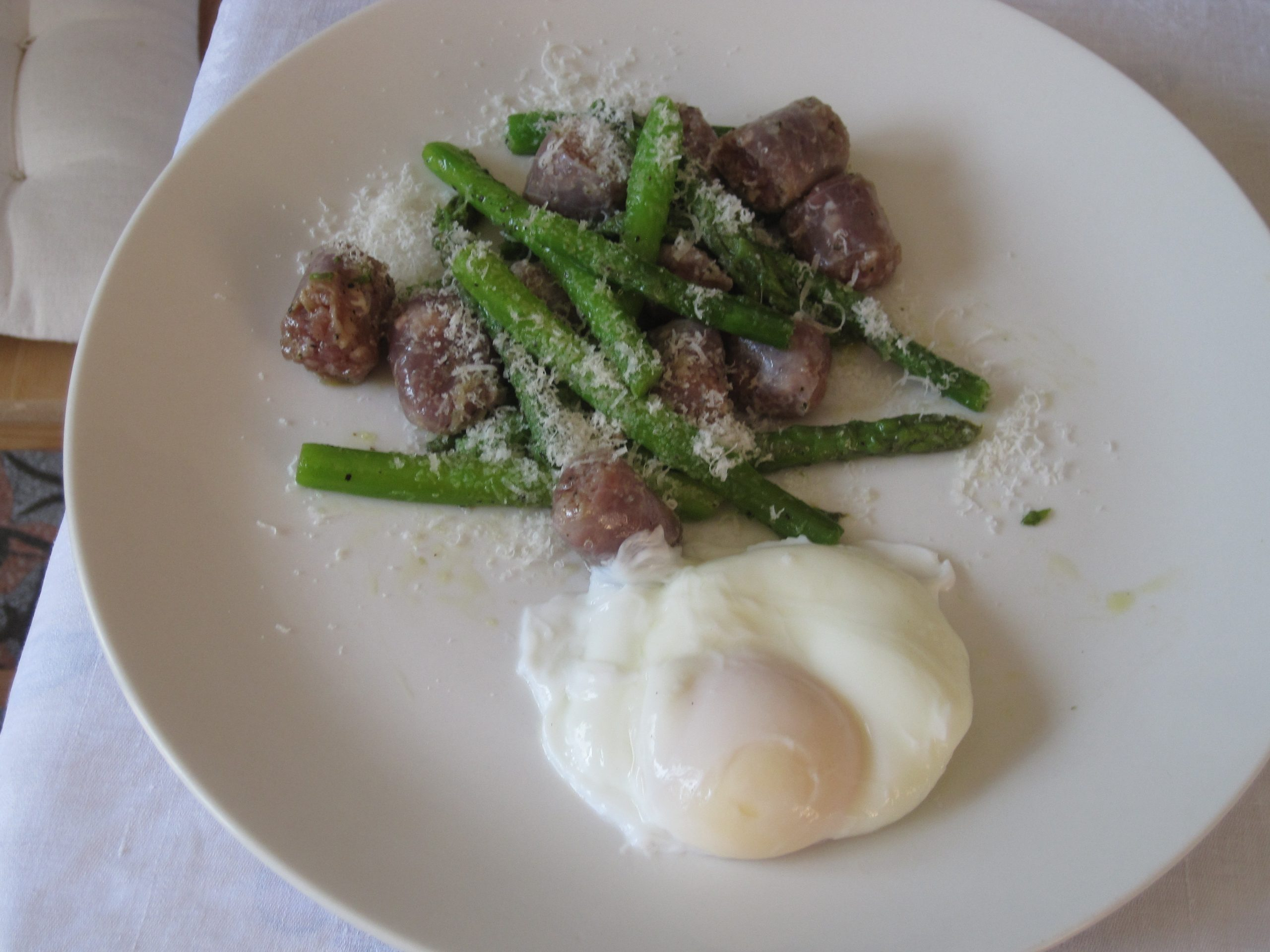 Asparagus and Sausage Recipe - with an egg!