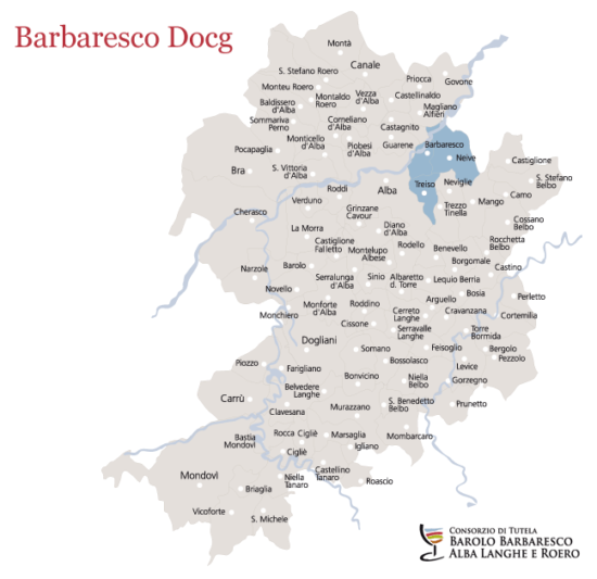 Barbaresco DOCG Map