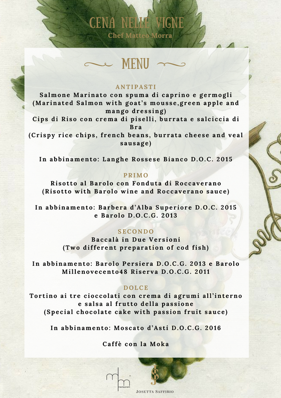 Josetta Saffirio Dinner in the vineyards menu