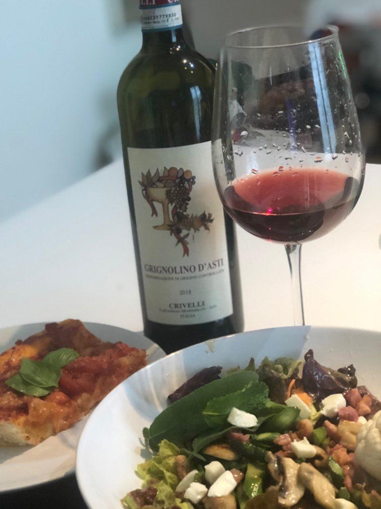 wine with salad